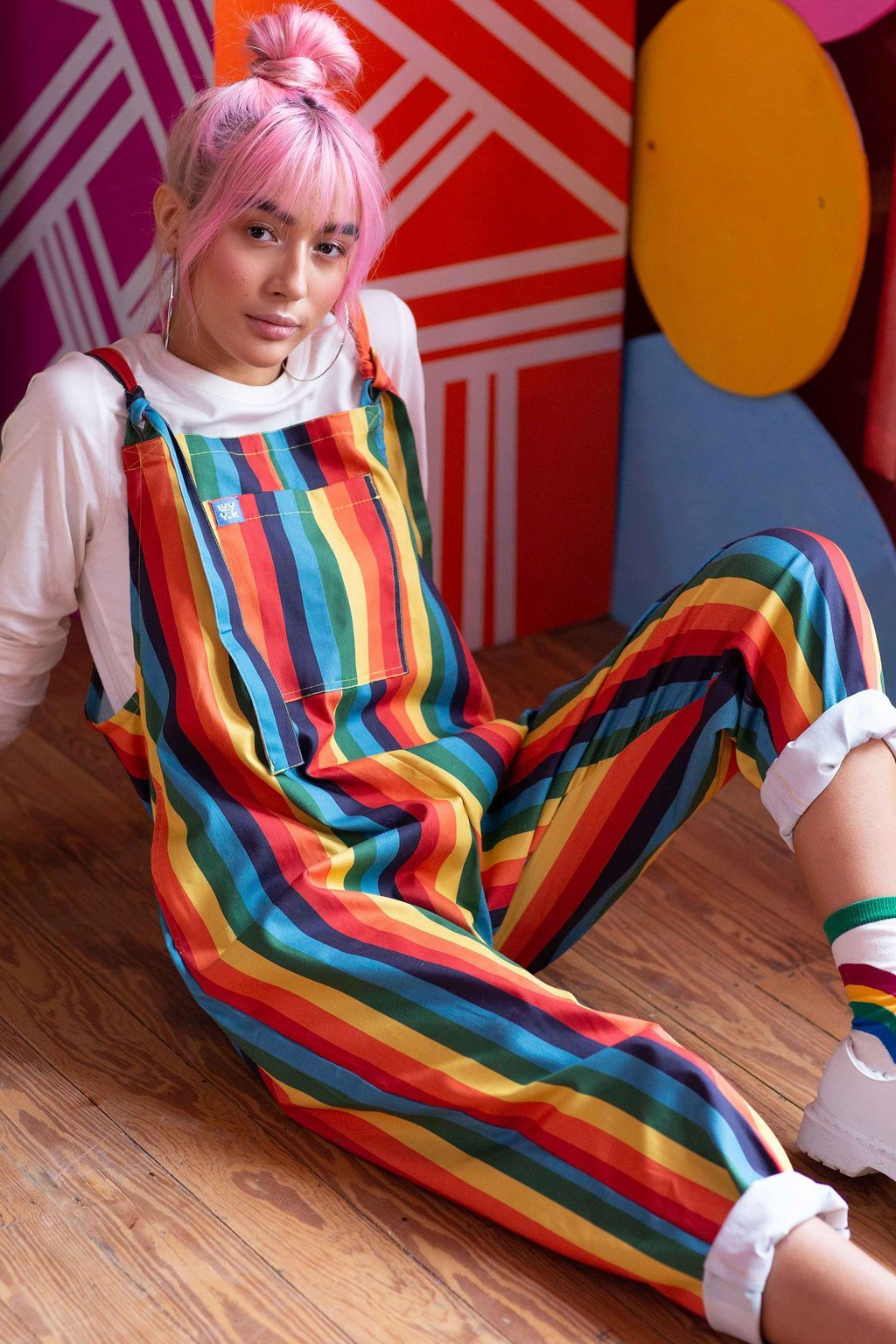 Lucy & Yak Dungarees 'Rainbowz' Limited Edition Striped Dungarees £40.00