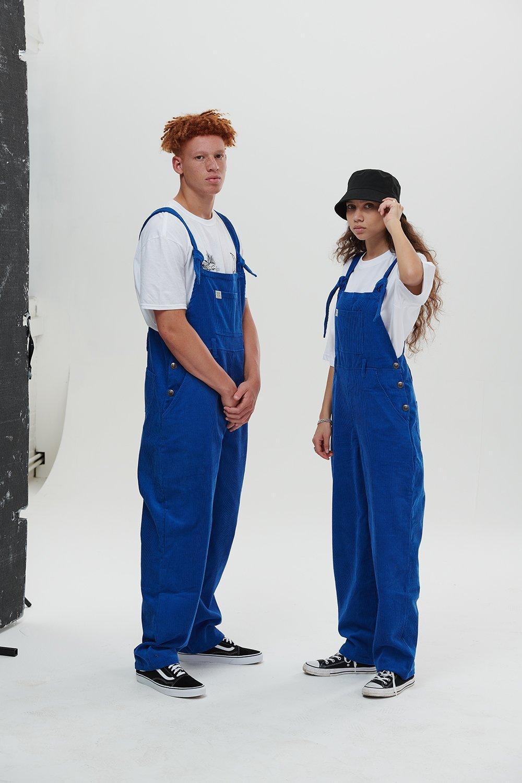 Lucy & Yak 'Easton' Organic Corduroy Dungarees in Cobalt Blue